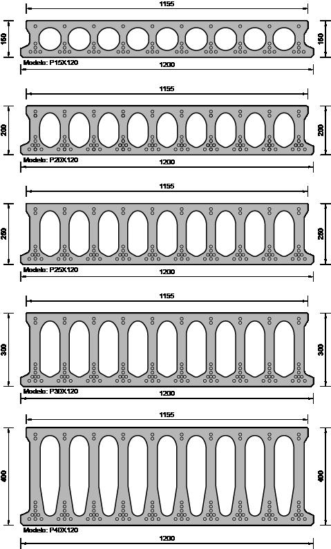 Secciones tipo placas alveolares.